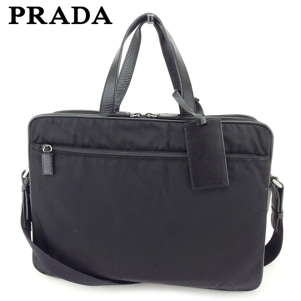 【中古】 プラダ PRADA ビジネスバッグ 2WAYショルダー レディース メンズ  ブラック ナイロン 人気 セール I522 .