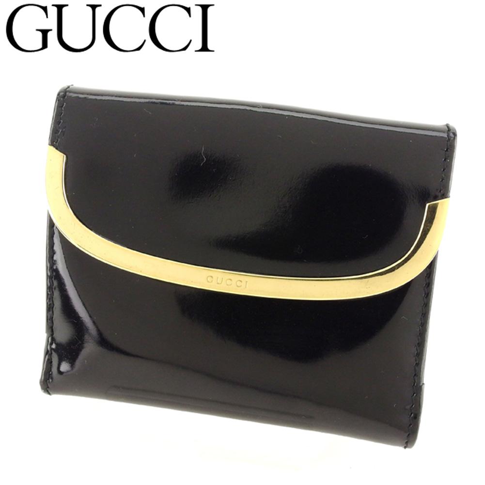 【中古】 グッチ GUCCI Wホック 財布 二つ折り レディース メンズ ロゴプレート ブラック ゴールド エナメルレザー 人気 セール L2458 .