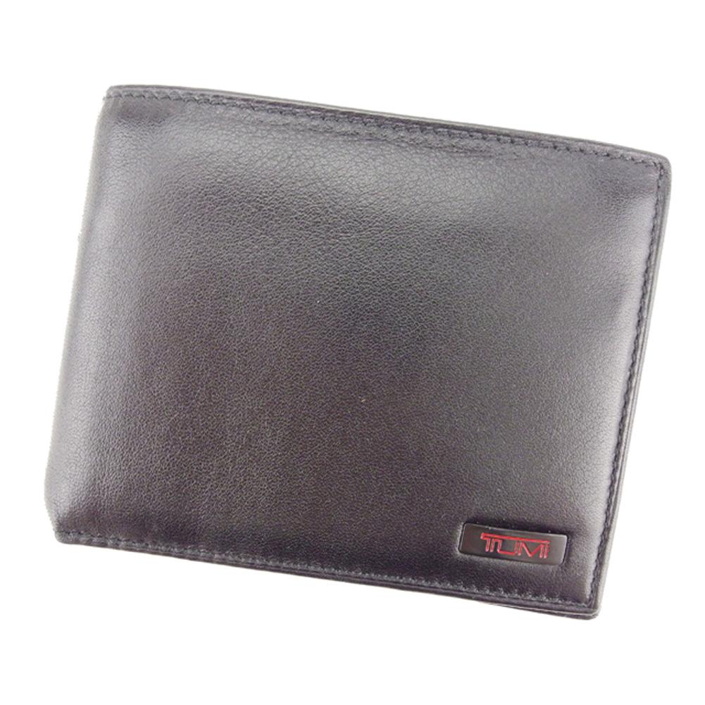 【中古】 トゥミ TUMI 二つ折り 財布 メンズ ロゴプレート ブラック レッド レザー 美品 セール L2461 .