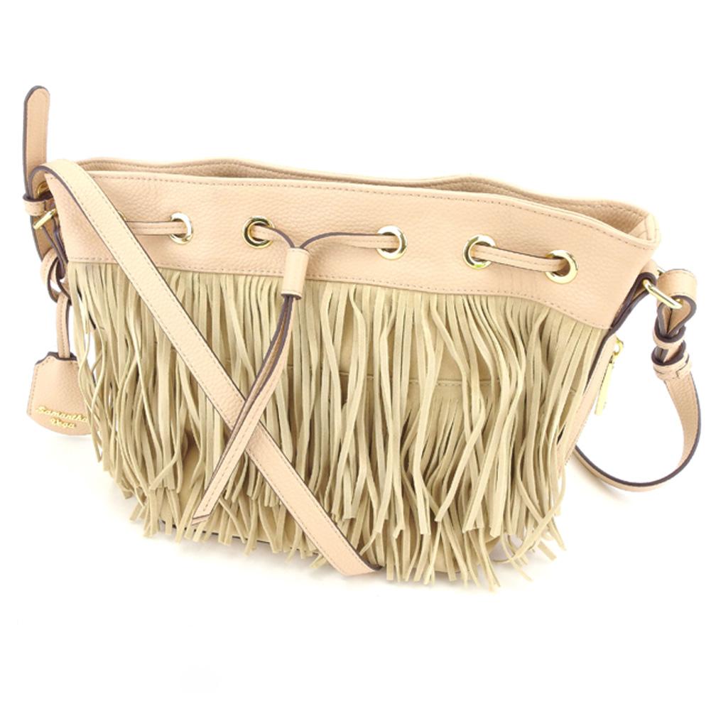 eebffa510408 Samantha Vega Samantha Vega shoulder bag one shoulder Lady s fringe beige  pink suede X leather popularity quality goods S887