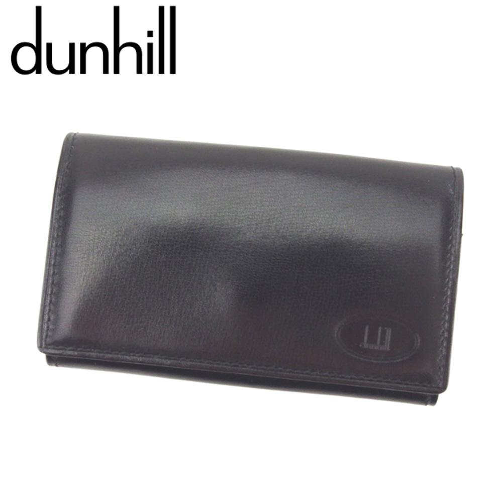 【中古】 ダンヒル dunhill キーケース 4連キーケース レディース メンズ  ブラック レザー 美品 セール S895 .