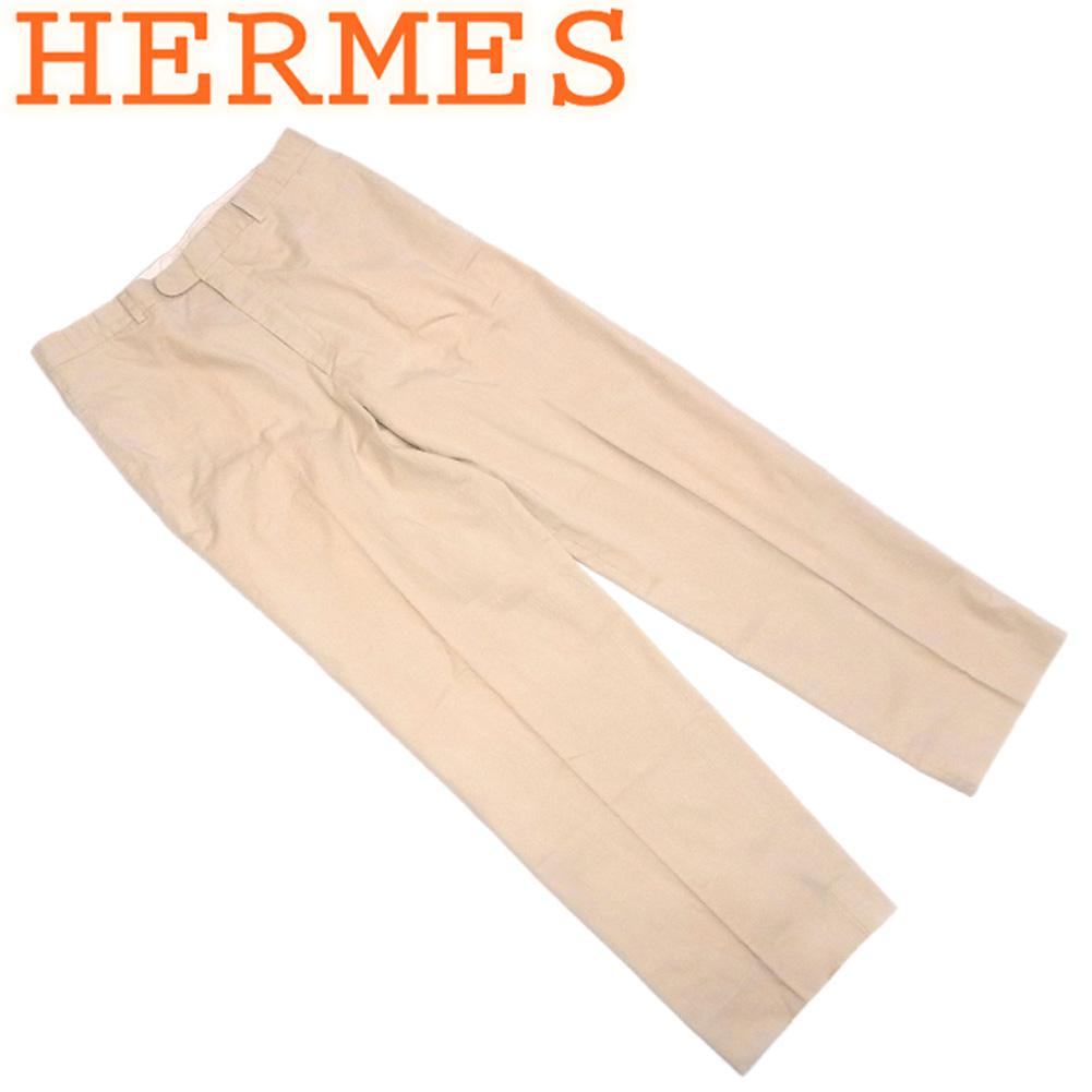 【中古】 エルメス HERMES パンツ チノパン メンズ ♯54サイズ センタープレス ベージュ ブラウン コットン 綿 人気 セール S988 .
