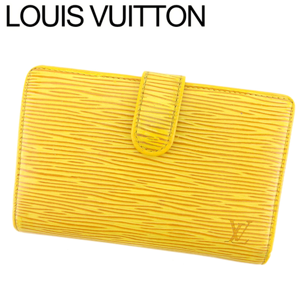 【中古】 ルイ ヴィトン Louis Vuitton がま口 財布 二つ折り レディース メンズ ポルトモネビエヴィエノワ エピ イエロー パープル ゴールド エピレザー 廃盤 人気 T8369 .