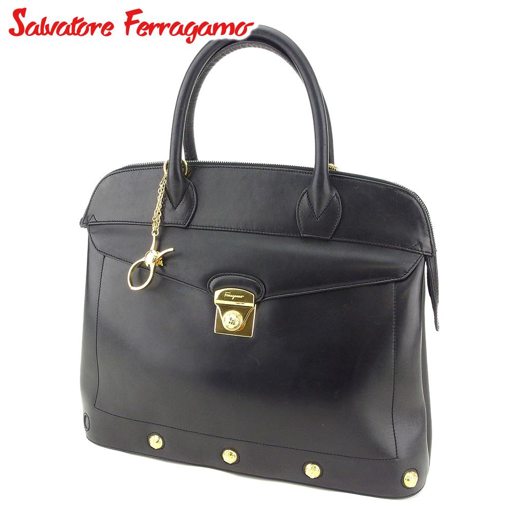 【中古】 サルヴァトーレ フェラガモ Salvatore Ferragamo ハンドバッグ ビジネスバッグ レディース メンズ  ブラック ゴールド レザー 人気 セール T8385