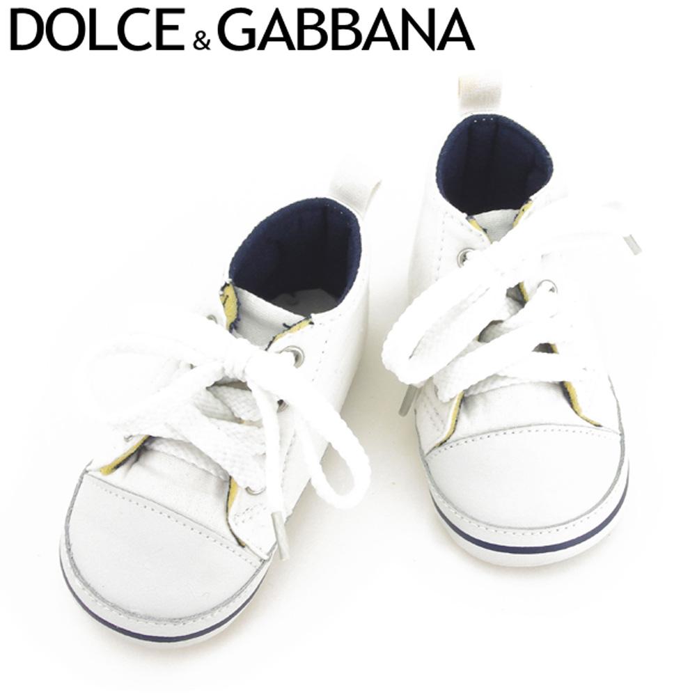 【中古】 ドルチェ&ガッバーナ DOLCE&GABBANA ベビーシューズ シューズ 靴 レディース メンズ #19 ロゴ ホワイト 白 キャンバス×レザー 人気 セール T8412 .