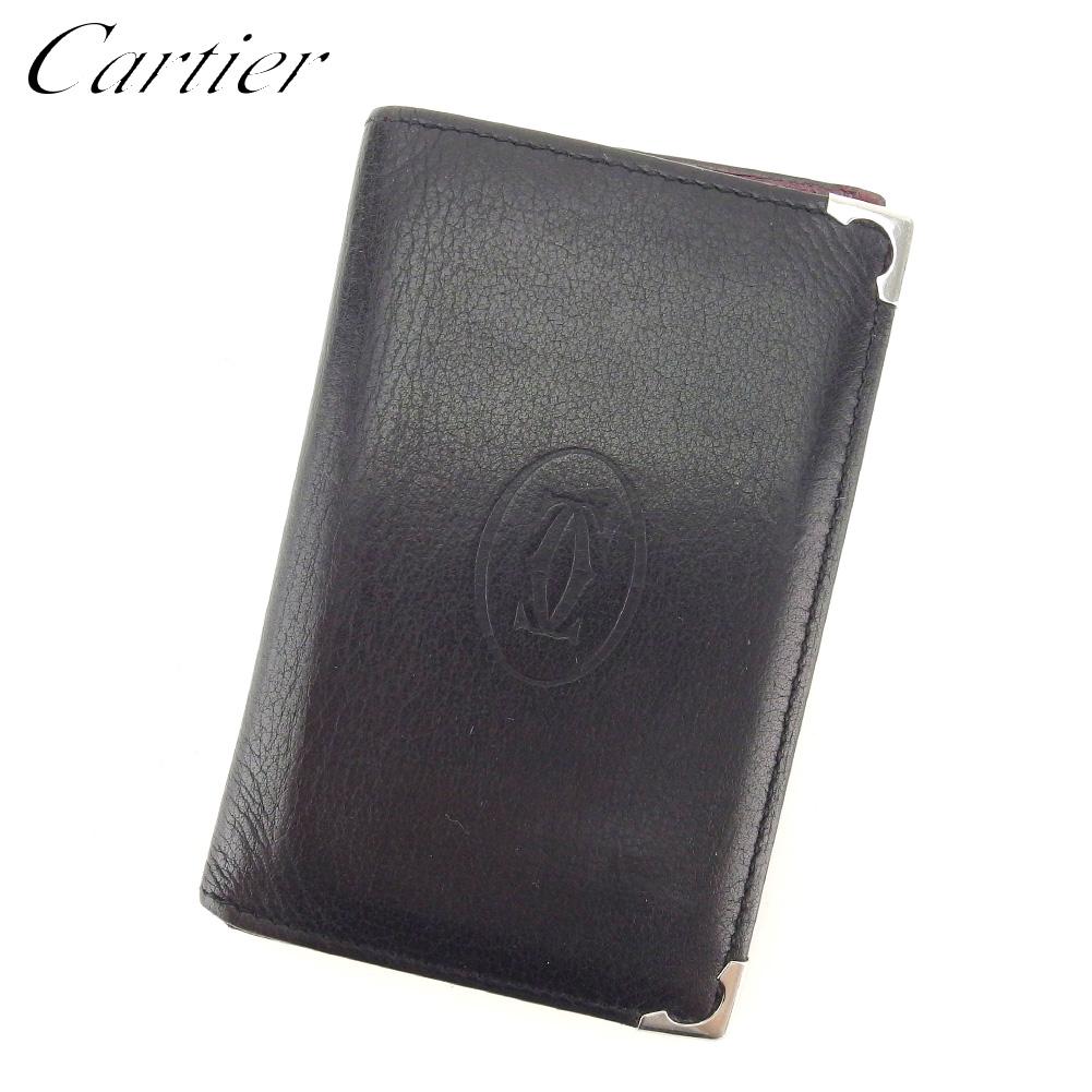 【中古】 カルティエ Cartier 名刺入れ カードケース レディース メンズ マストライン ブラック レザー 人気 良品 T8422 .