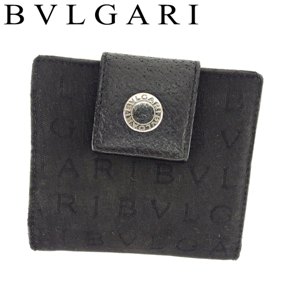 【中古】 ブルガリ BVLGARI 二つ折り 財布 コンパクト 財布 レディース メンズ ロゴマニア ブラック レザー 人気 セール T8447 .