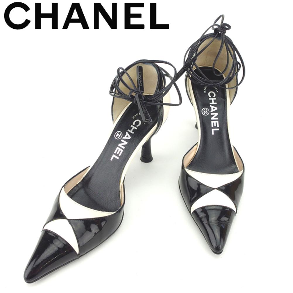 【中古】 シャネル CHANEL パンプス シューズ 靴 レディース #36 ブラック ホワイト 白 エナメル×レザー 人気 セール T8455