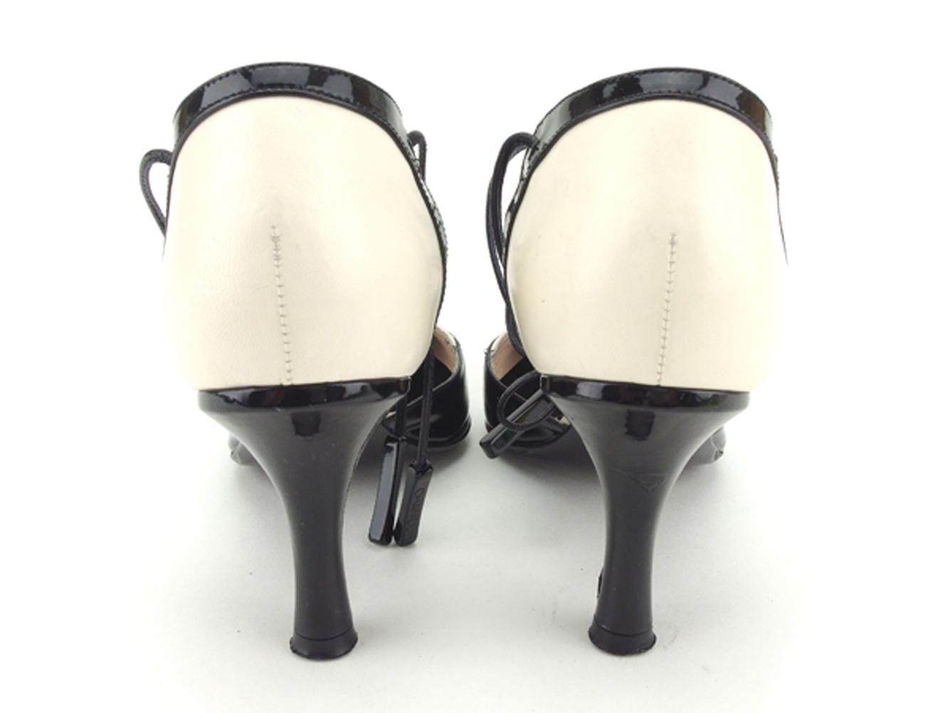 72f1587a1978 【中古】 シャネル CHANEL パンプス シューズ シューズ シューズ 靴 レディース #36 ブラック ホワイト 白 エナメル×レザー 人気  セール T8455 . 651。