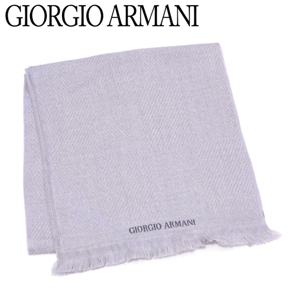 a5386ad320 There is lady's men logo embroidery gray gray wool reason with the Giorgio  Armani GIORGIO ARMANI scarf fringe; unused article T8678.