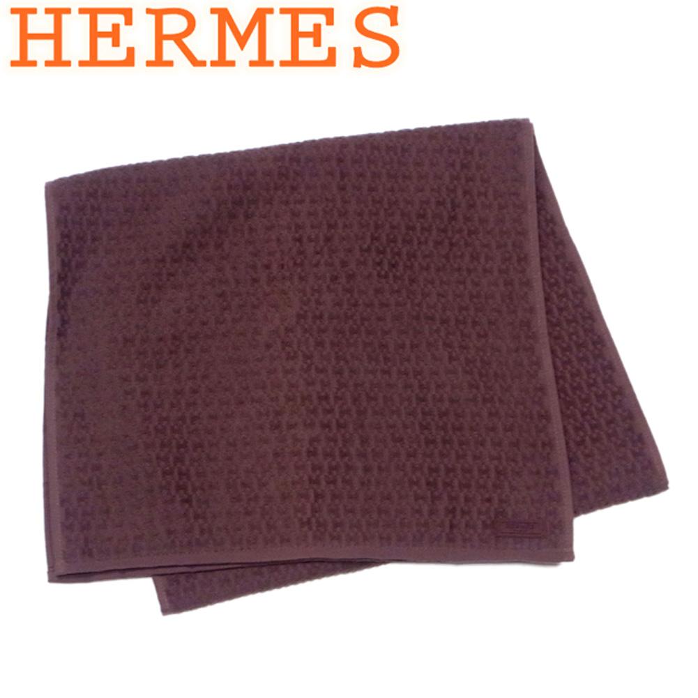 【中古】 エルメス HERMES ビーチタオル バスタオル レディース メンズ H柄 ブラウン コットン 綿 美品 セール T8684