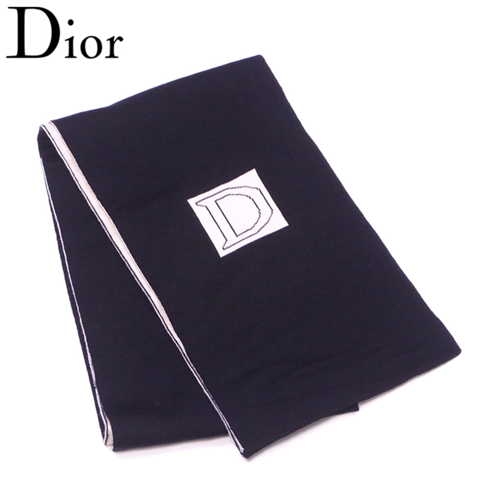 【中古 ウール】 ディオール Dior マフラー【中古】 レディース メンズ メンズ ロゴ ブラック ホワイト 白 ウール 訳あり セール T8805 ., STRIKE:4b3c2be8 --- officewill.xsrv.jp