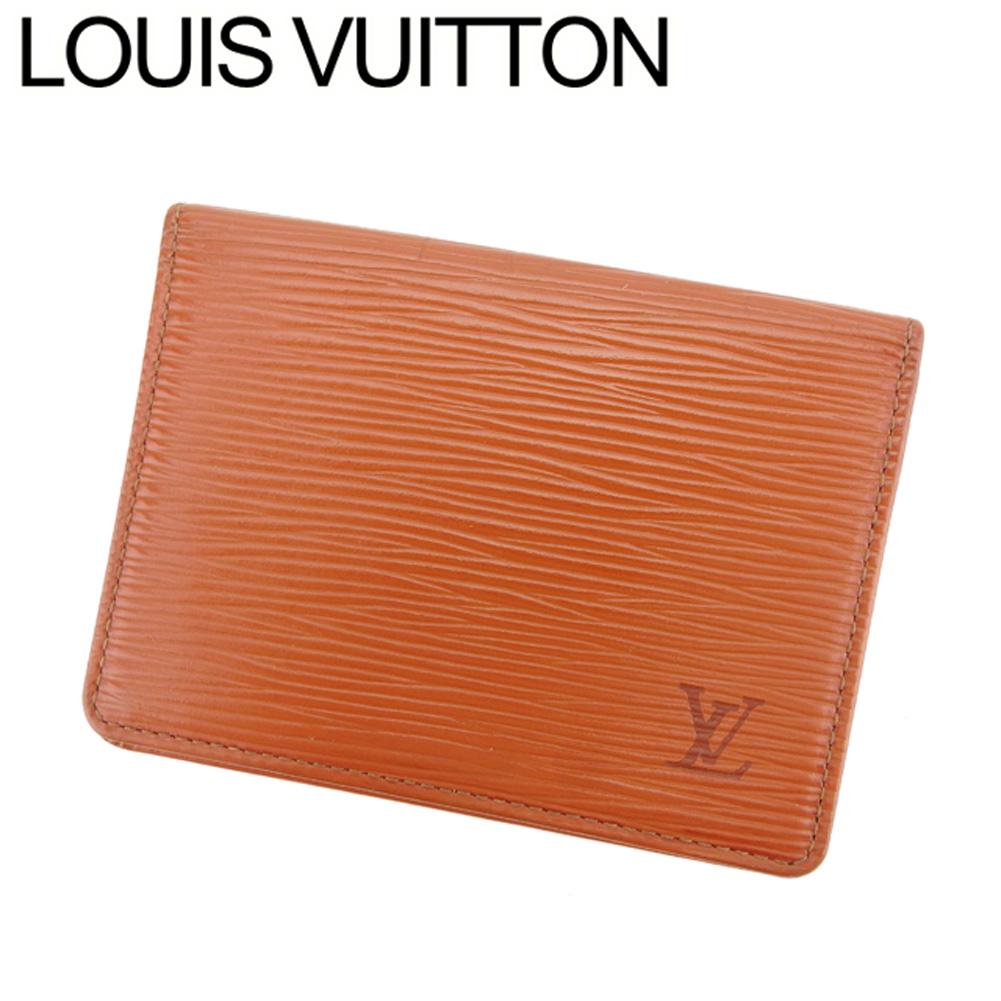 【中古】 ルイ ヴィトン Louis Vuitton 定期入れ パスケース レディース メンズ ポルト2カルトヴェルティカル エピ ブラウン エピレザー 廃盤 人気 C3289 .