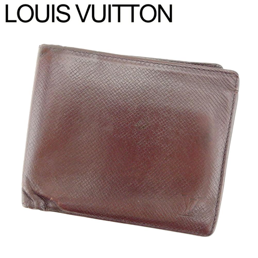 【中古】 ルイ ヴィトン Louis Vuitton 二つ折り 札入れ メンズ ポルトビエカルトクレディ タイガ ブラウン タイガレザー 人気 セール C3293 .