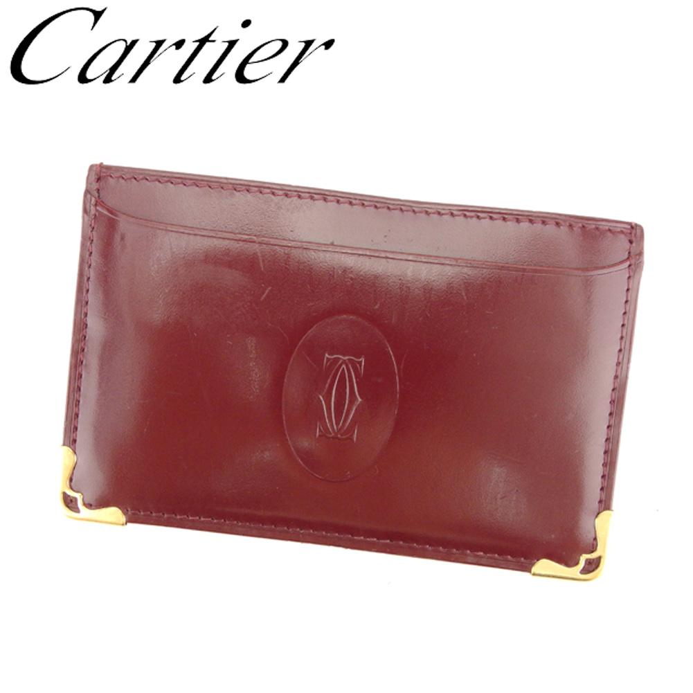 【中古】 カルティエ Cartier カードケース 名刺入れ パスケース レディース メンズ ボルドー ゴールド レザー C3317