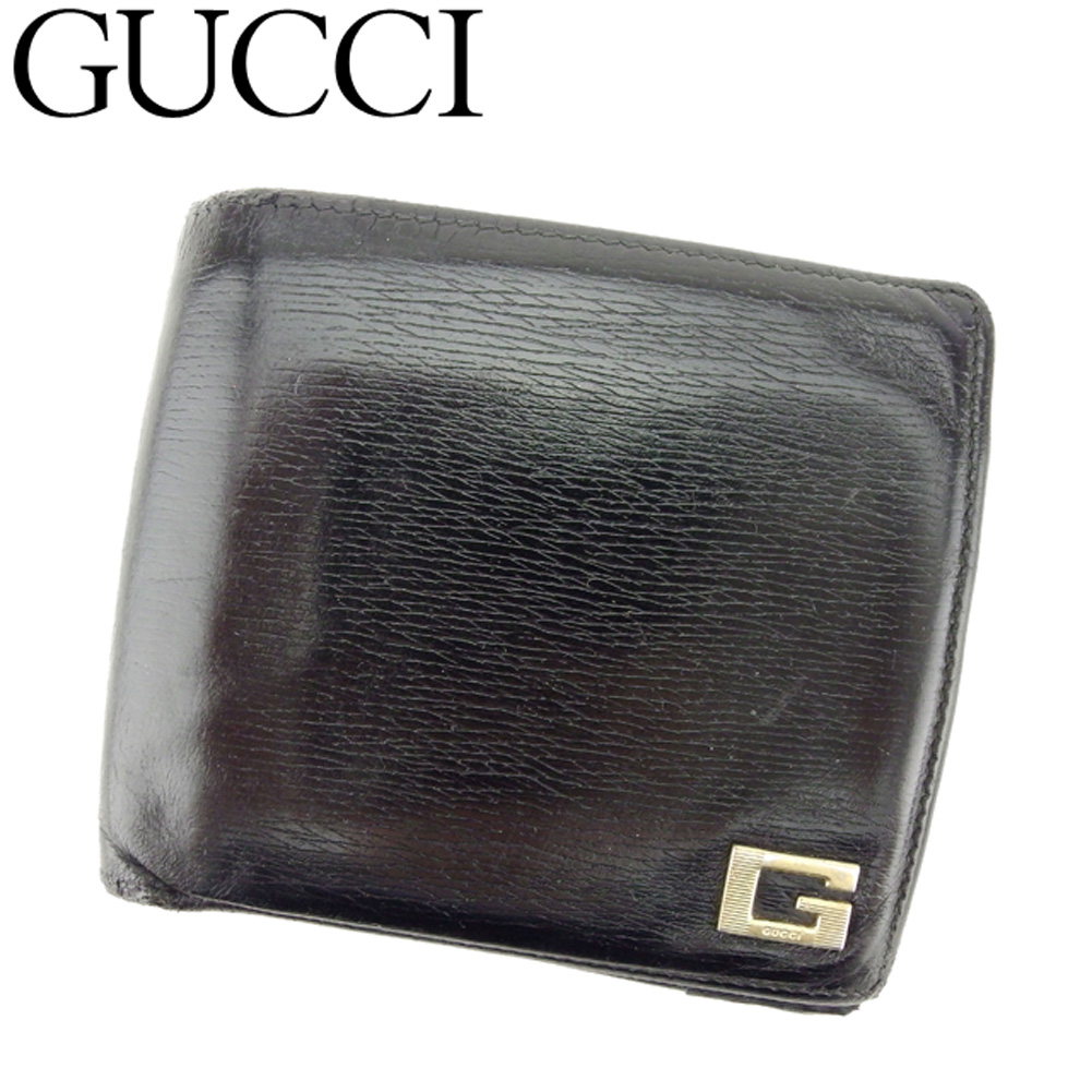 05797caf604 Gucci GUCCI folio wallet men G mark black gold leather popularity sale D1874