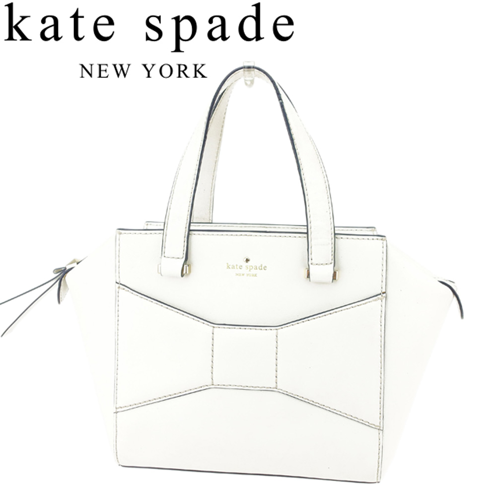 28d08c492f61 Kate spade kate spade handbag tote bag Lady s ribbon motif white white navy  gold leather popularity quality goods D1881