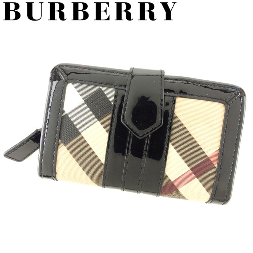 【中古】 バーバリー BURBERRY 二つ折り 財布 ラウンドファスナー レディース メンズ ノバチェック ブラック ベージュ系 PVC×エナメルレザー 人気 セール D1883 .