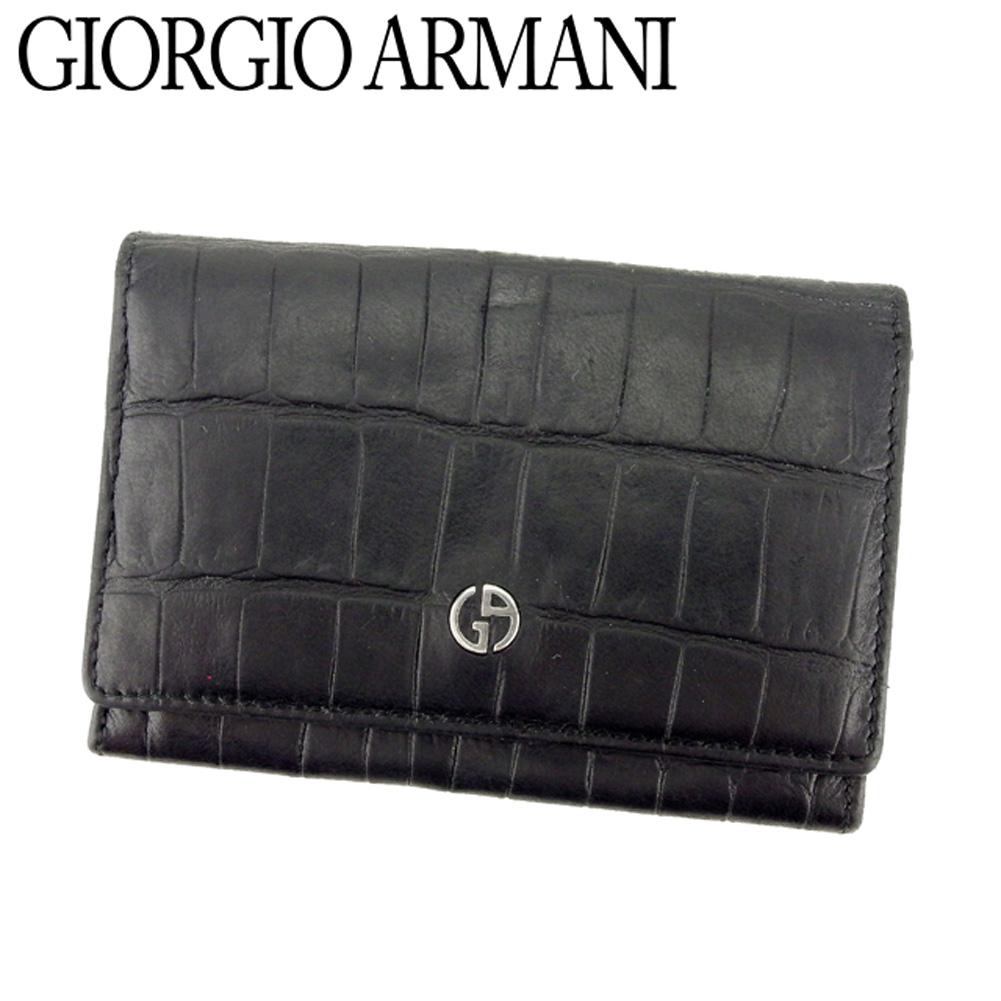 【中古】 ジョルジオ アルマーニ GIORGIO ARMANI 名刺入れ カードケース メンズ GAマーク クロコ調 ブラック シルバー 型押しレザー 人気 セール D1892 .