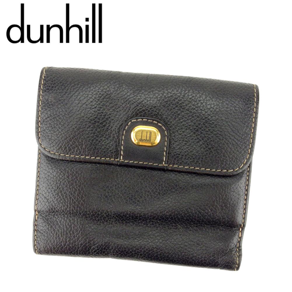 【中古】 ダンヒル dunhill Wホック 財布 二つ折り メンズ ロゴプレート ブラック ゴールド レザー 人気 セール D1898 .