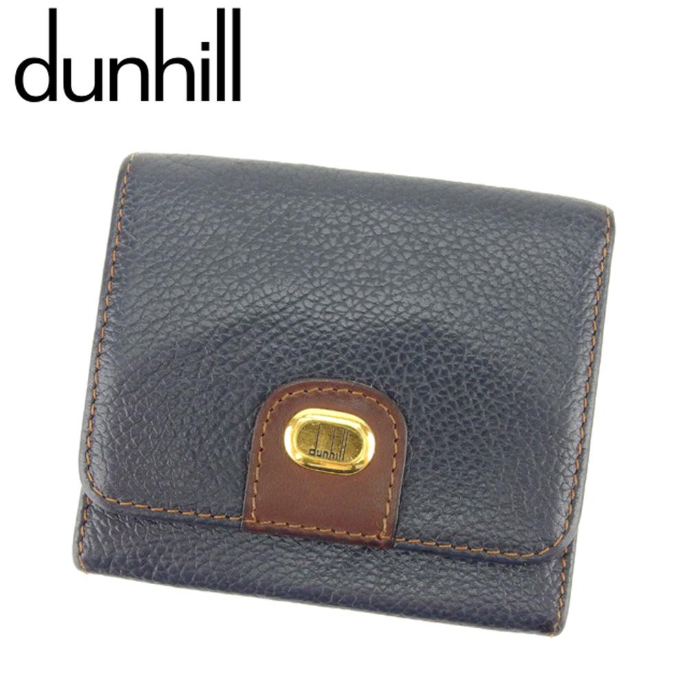 【中古】 ダンヒル dunhill コインケース 小銭入れ メンズ ネイビー ブラウン ゴールド レザー D1904