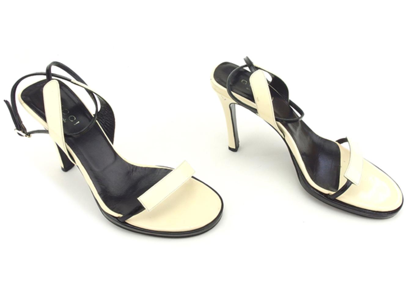 e50846341 ... Gucci GUCCI sandals shoes shoes Lady's ♯ 37C high-heeled shoes ankle  strap beige black ...