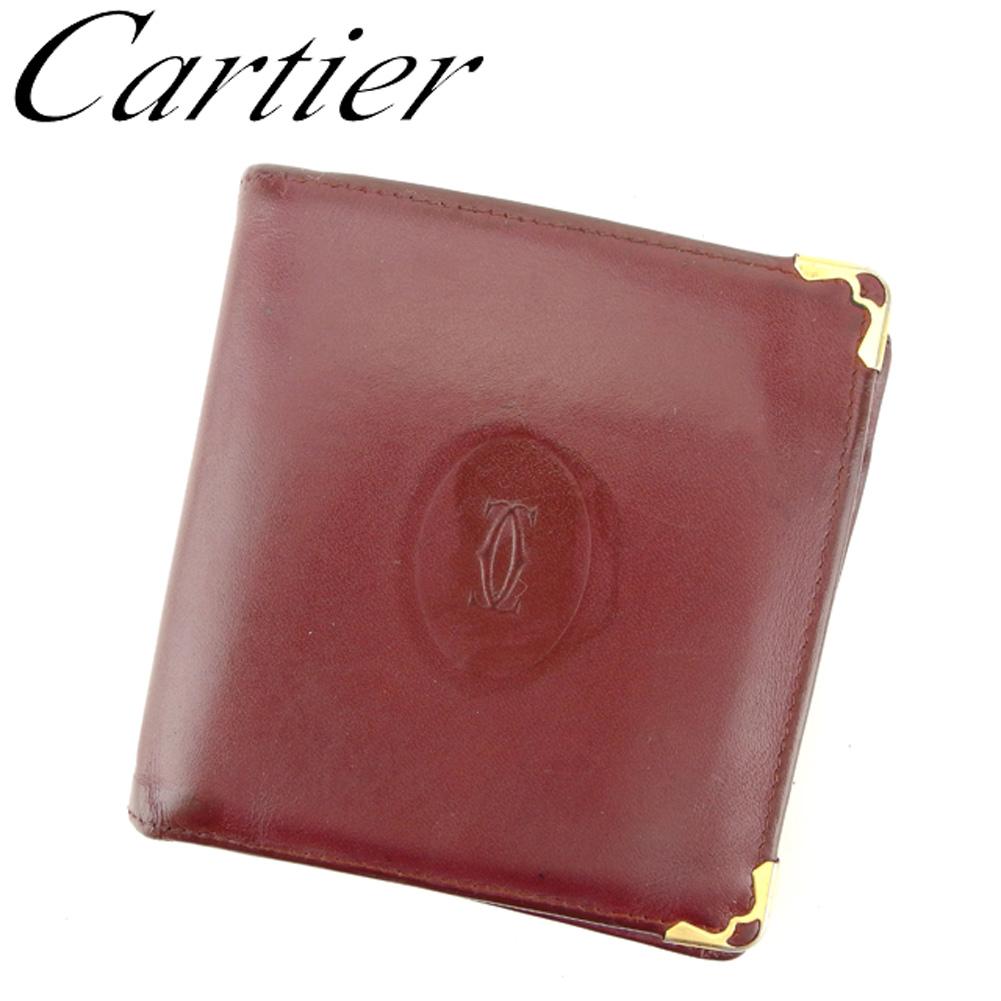 【中古】 カルティエ Cartier 二つ折り 財布 レディース メンズ マストライン ボルドー ゴールド レザー 人気 セール D1913 .