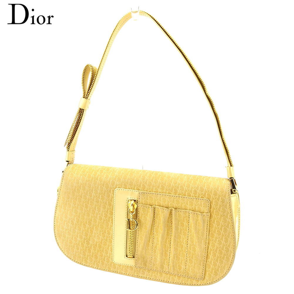 【中古】 ディオール Dior ハンドバッグ パーティーバッグ レディース Dチャーム トロッター イエロー ゴールド スエード×エナメルレザー 人気 セール E1251 .