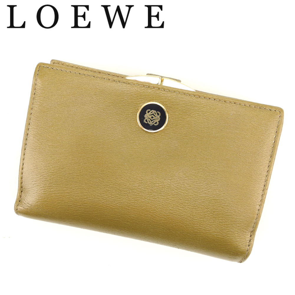 【中古】 ロエベ LOEWE がま口 財布 二つ折り レディース メンズ アナグラムボタン ゴールド ブラック レザー 訳あり セール T8001 .