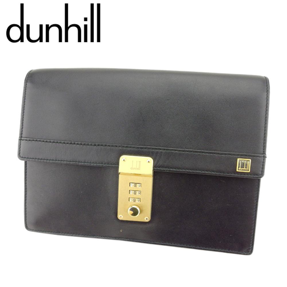 【中古】 ダンヒル dunhill クラッチバッグ セカンドバッグ メンズ コンフィデンシャル ブラック ゴールド レザー 人気 良品 T8003 .