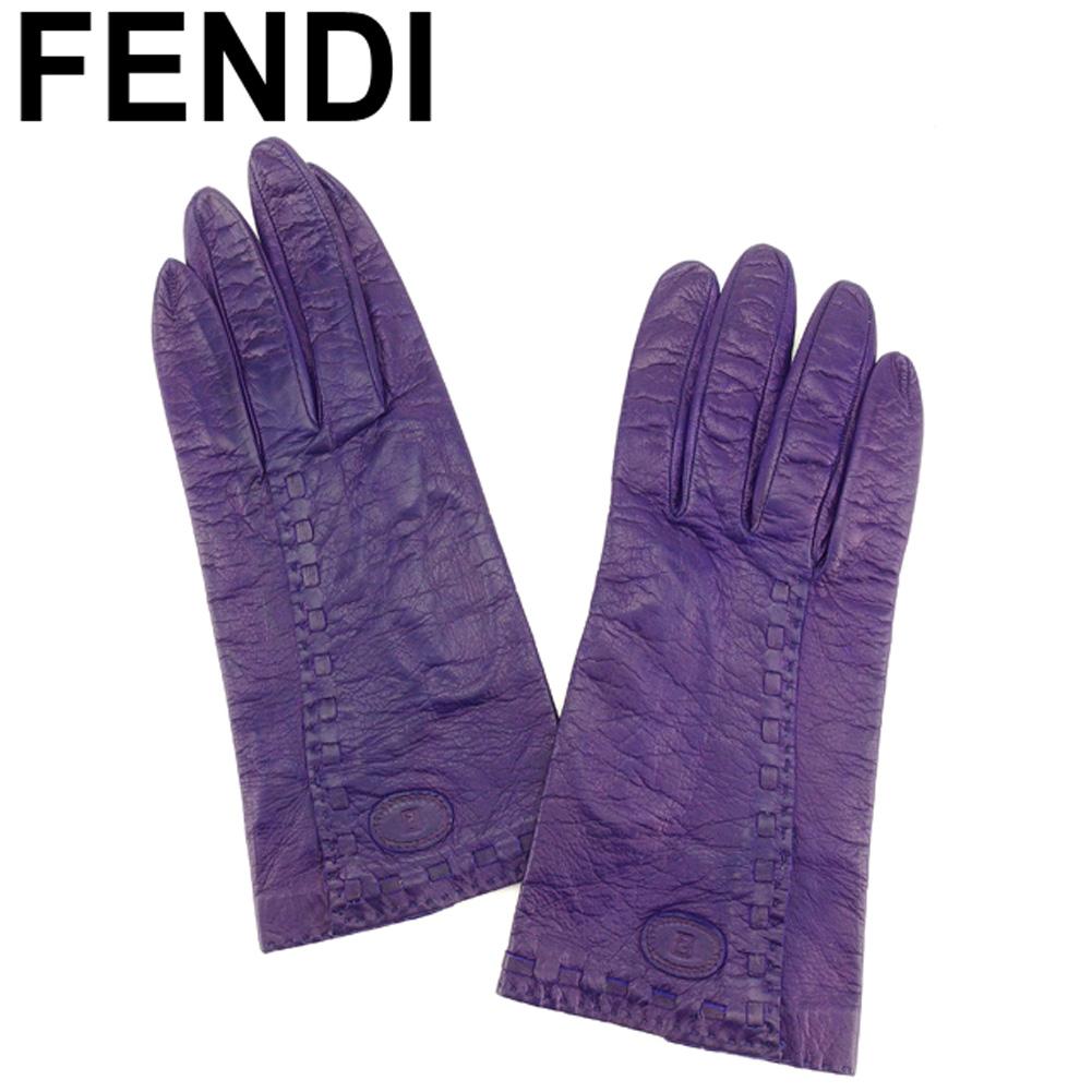 【中古】 フェンディ FENDI 手袋 グローブ レディース ステッチ入り パープル レザー 人気 良品 T8041 .