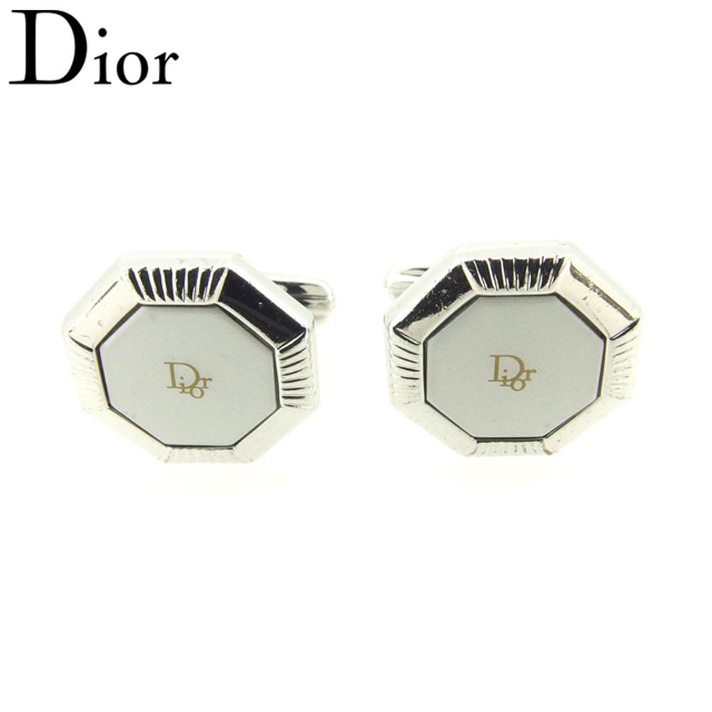 【中古】 ディオール Dior カフス カフリンクス レディース メンズ スウィヴル式 8角形 シルバー ゴールド シルバー金具 人気 良品 T8044 .