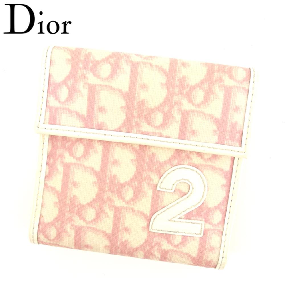 【中古】 ディオール Dior 三つ折り 財布 レディース トロッター ピンク ベージュ ホワイト 白 PVC×エナメルレザー 人気 セール T8053 .