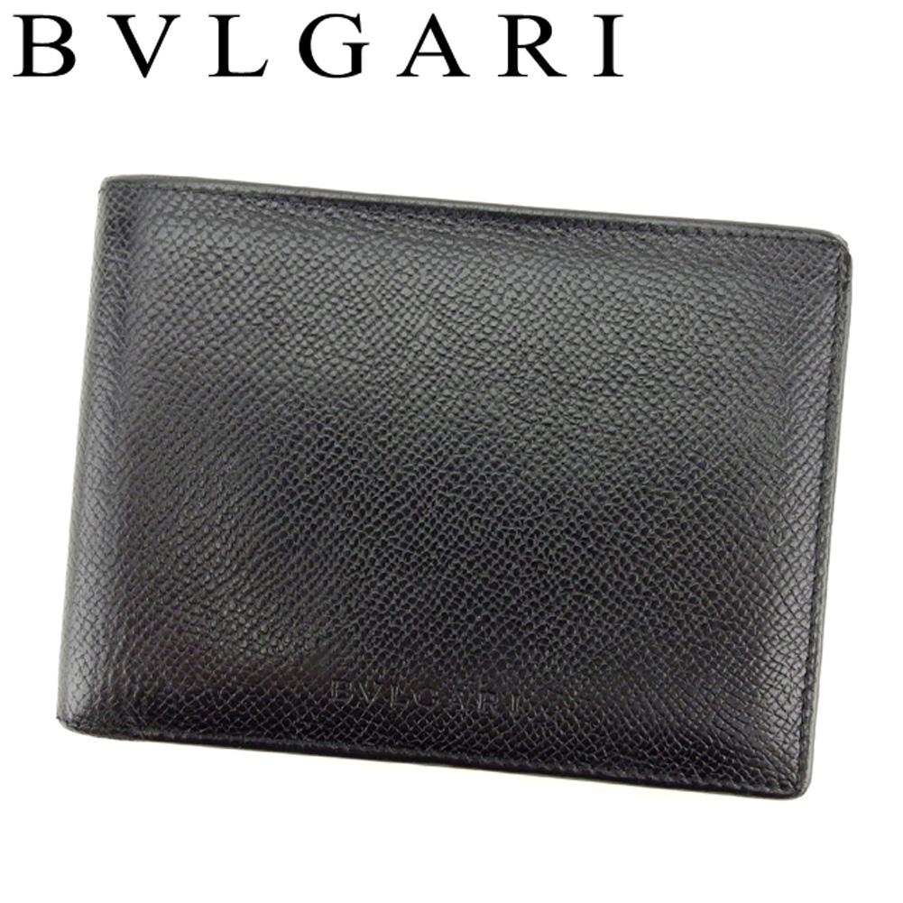 【中古】 ブルガリ BVLGARI 二つ折り 札入れ メンズ クラシコ ブラック レザー 人気 セール T8057 .