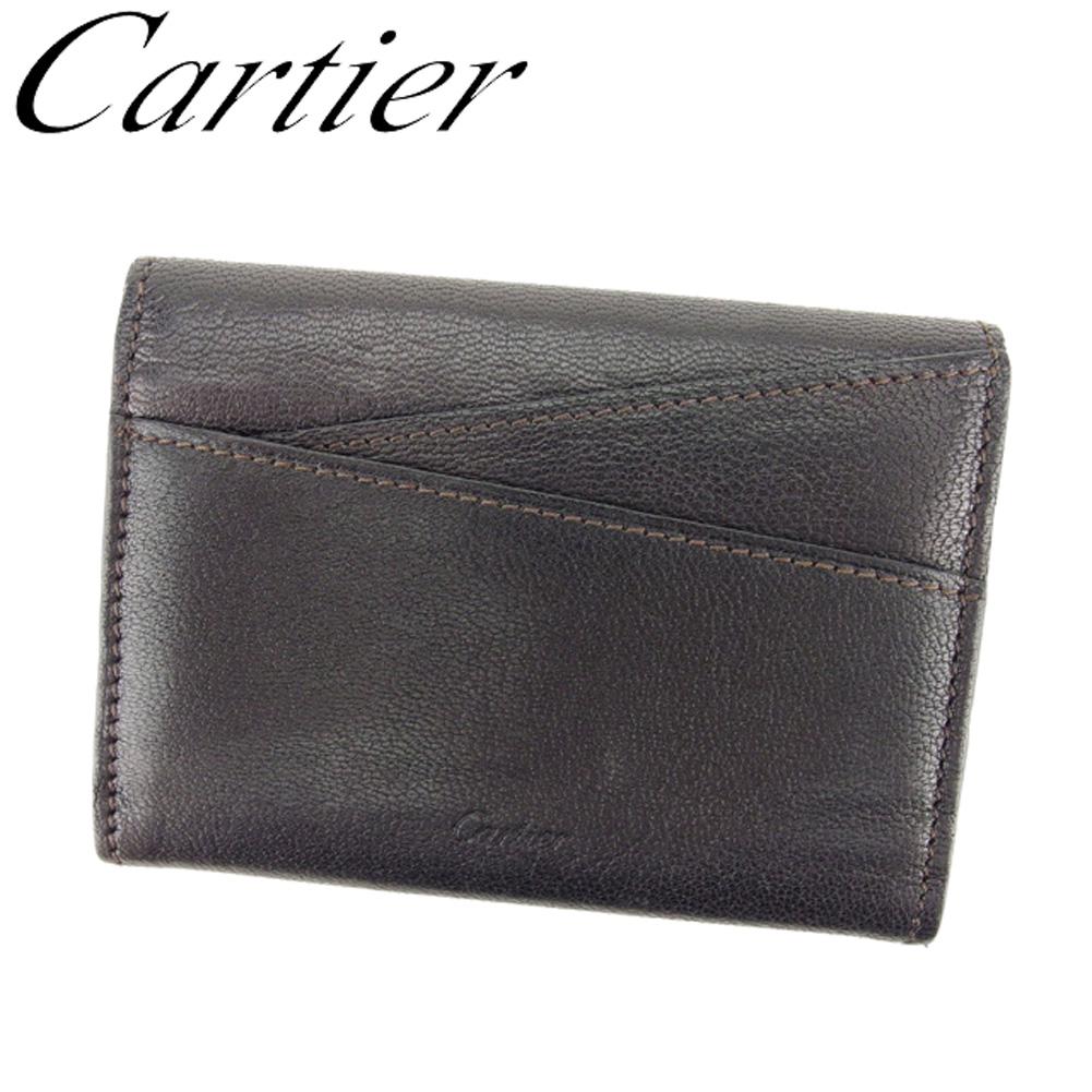 【中古】 カルティエ Cartier 名刺入れ カードケース レディース メンズ コレクションレマスト ブラック ブラウン レザー 人気 良品 T8066 .