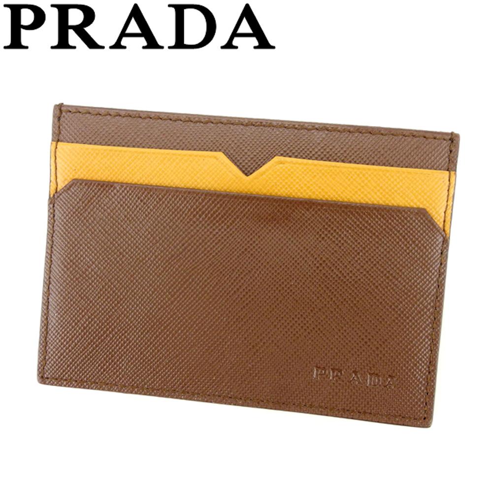 【中古】 プラダ PRADA カードケース パスケース 名刺入れ レディース メンズ バイカラー ブラウン ベージュ サフィアーノレザー 美品 セール T8067