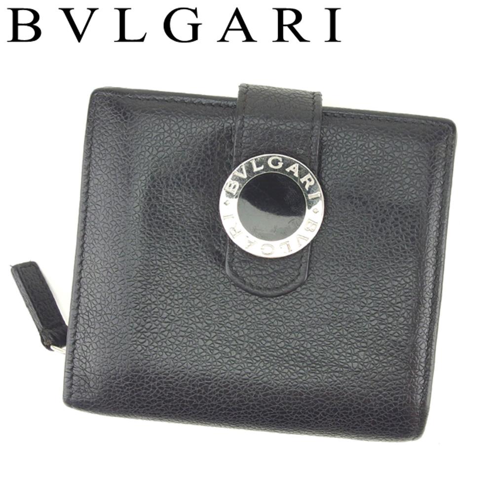 9d6de2052e80 【中古】 ブルガリ BVLGARI 二つ折り 財布 ラウンドファスナー レディース メンズ ブルガリブルガリ ブラック シルバー