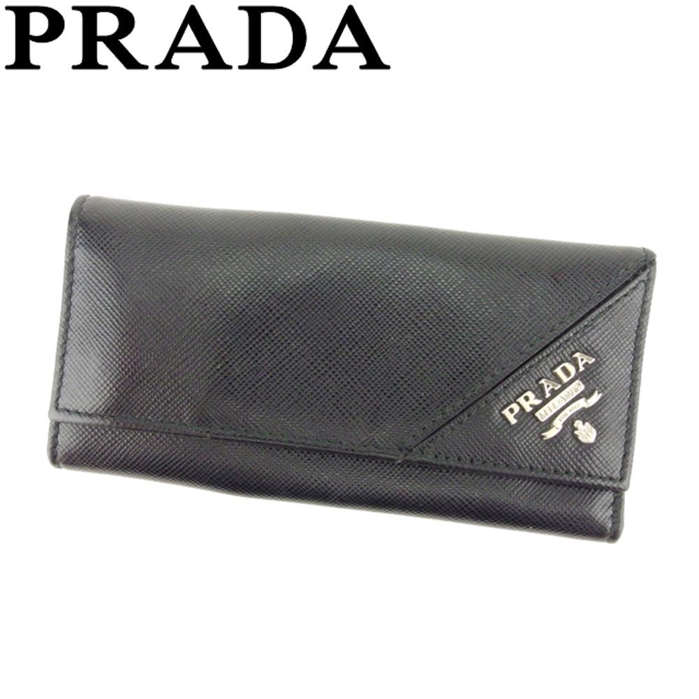 【中古】 プラダ PRADA キーケース 6連キーケース レディース メンズ ロゴ ブラック シルバー レザー 美品 セール T8092 .