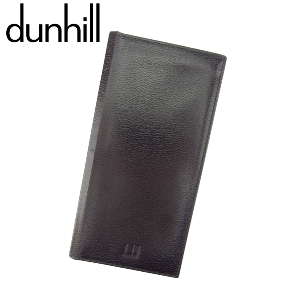 【中古】 ダンヒル dunhill 長札入れ 札入れ メンズ ロゴ ブラウン ブラック レザー 人気 良品 T8093 .