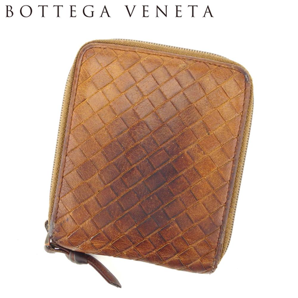 【中古】 ボッテガ ヴェネタ BOTTEGA VENETA 二つ折り 財布 ラウンドファスナー レディース メンズ イントレチャート ブラウン レザー 人気 セール T8113 .