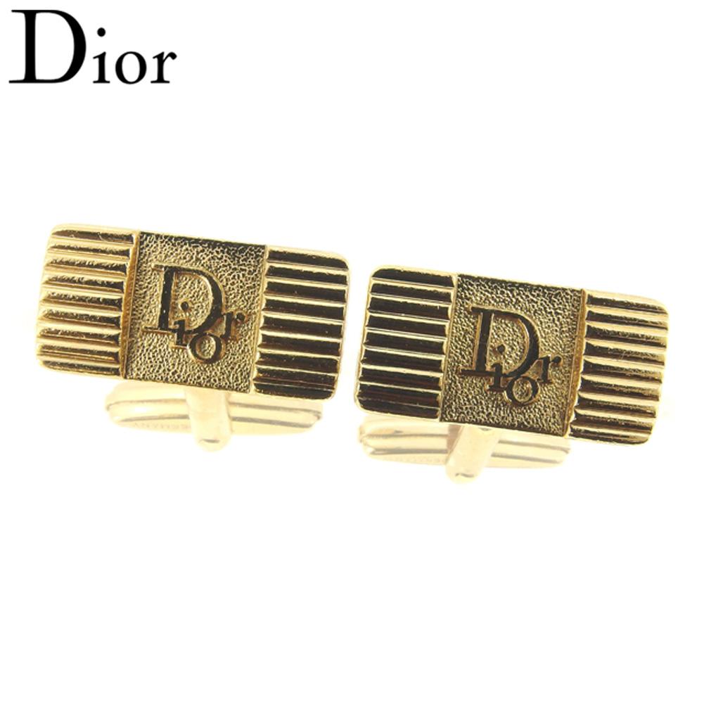 【中古】 ディオール Dior カフス カフリンクス レディース メンズ ロゴ ゴールド ゴールドメッキ 美品 セール T8120 .