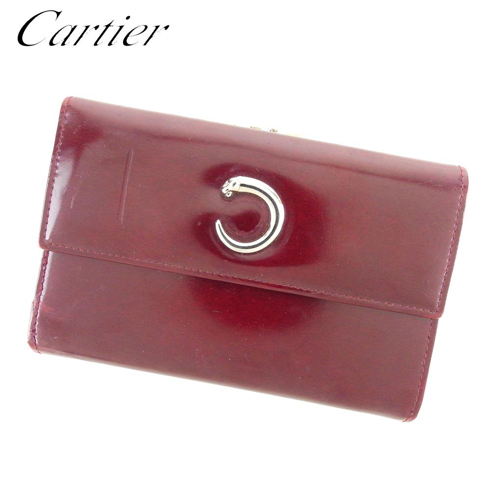 【中古】 カルティエ Cartier 三つ折り 財布 がま口 レディース メンズ パンテール ボルドー レザー 人気 セール T8517 .