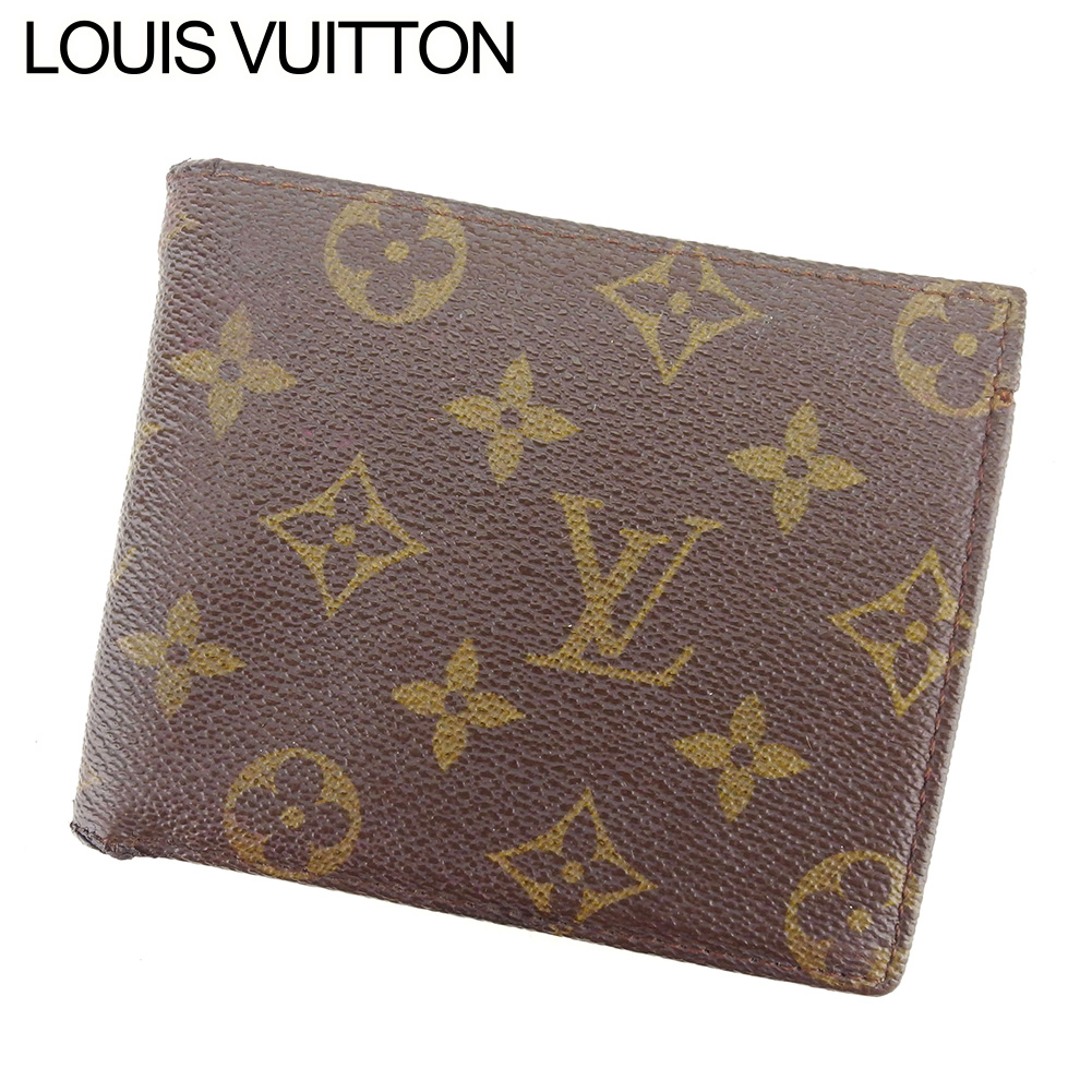 【中古】 ルイ ヴィトン LOUIS VUITTON 二つ折り 札入れ 二つ折り 財布 レディース メンズ モノグラム ブラウン PVC×レザー ヴィンテージ 人気 T8520 .