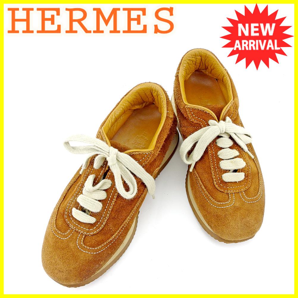 【中古】 【送料無料】 エルメス HERMES スニーカー シューズ 靴 レディース ♯36 ローカット クイック ブラウン ベージュ スエード 人気 T5710