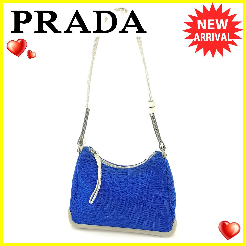 BRAND DEPOT  Prada PRADA shoulder bag one shoulder bag lady sports line  blue gray gray silver system mesh canvas X leather X rubber popularity sale  T5892 ... de3477b38f5b6