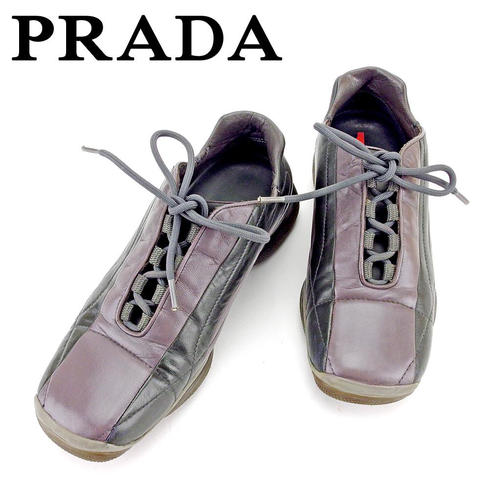 プラダ PRADA スニーカー #37 1/2 靴 シューズ レディース  ブラウン ブラック レザー 人気 良品 【中古】 T5827