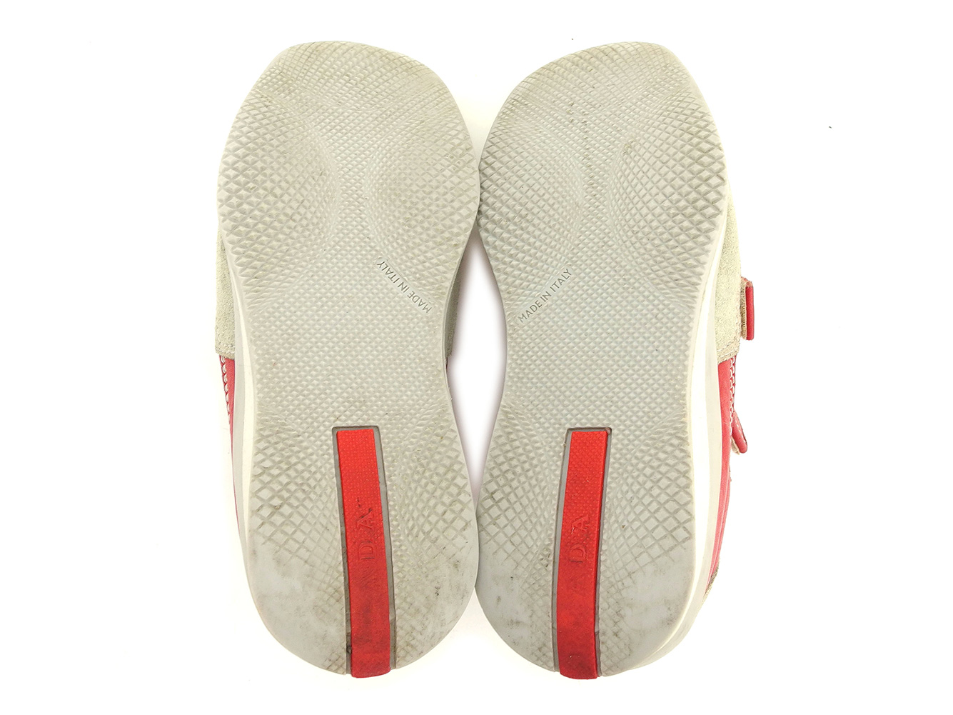 84938113d9455b Prada PRADA sneakers shoes shoes girls Boys possible ♯ 28 sports line kids  Velcro red gray gray silver leather X suede X rubber popularity T6280
