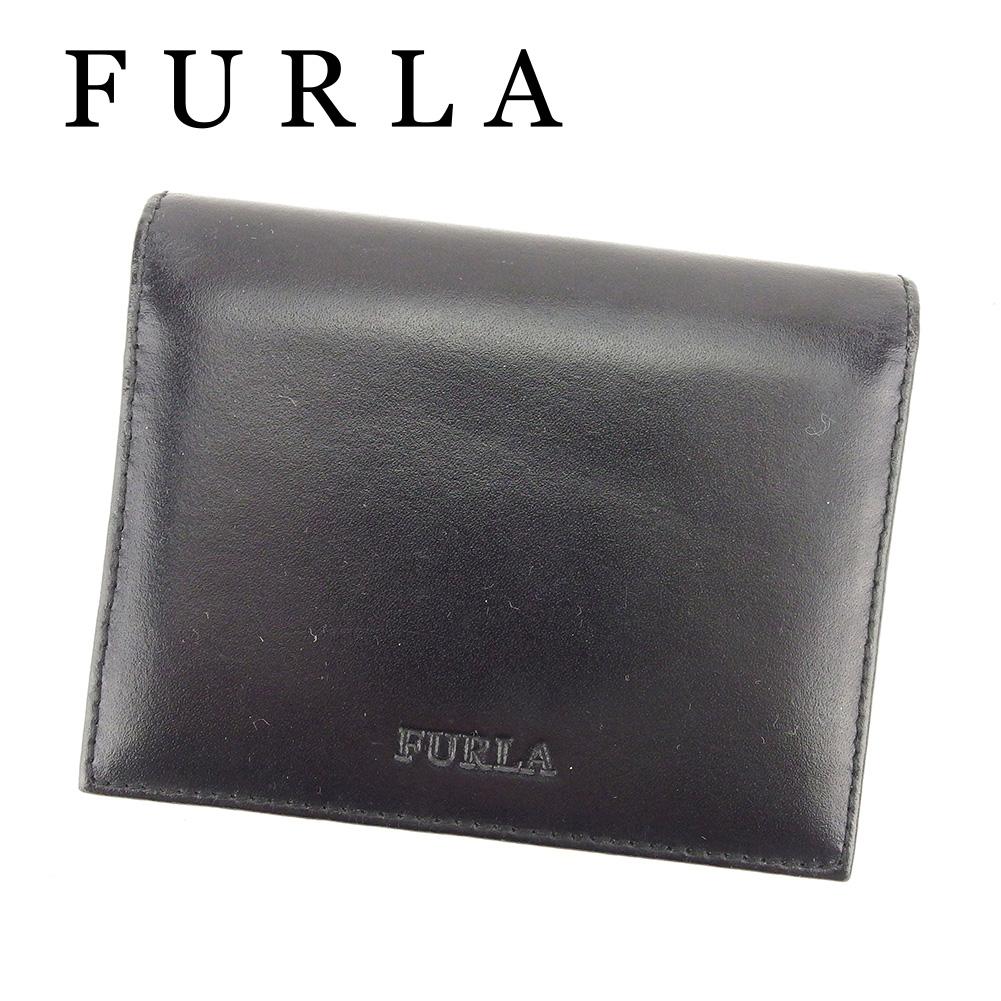 【中古】 フルラ FURLA カードケース 名刺入れ レディース メンズ 可 ブラック レザー T6428