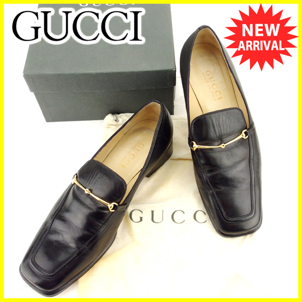 1ddd6e4a8 Gucci GUCCI loafer #36 1/2 shoes shoes men's possible hose bit black black  ...