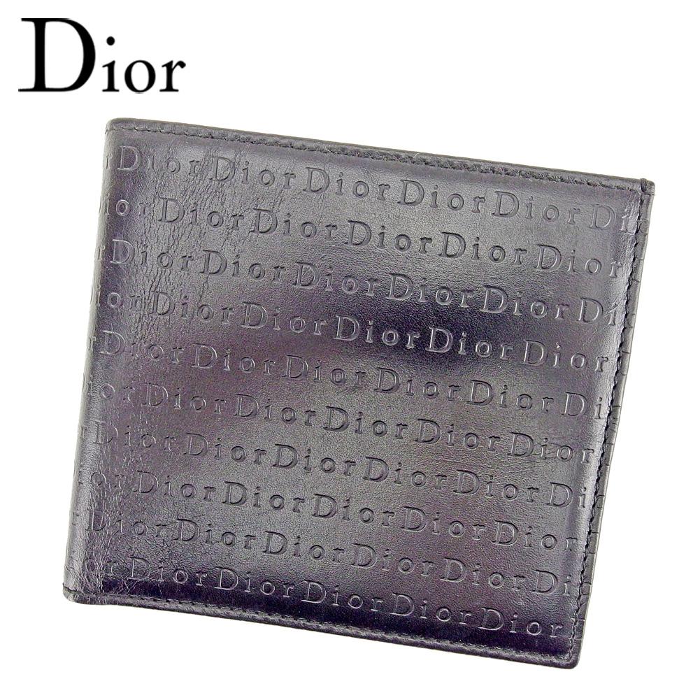 【中古】 ディオール オム 二つ折り 財布 ロゴ ブラック レザー Dior homme 二つ折りサイフ 財布 サイフ 収納ブランド ブランド財布 ユニセックス 小物 人気 贈り物 迅速発送 在庫処分 男性 女性 良品 春 1点物 【送料無料】 T6446